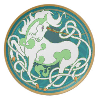 2014 Mink Chef: Unicorn Plate - Green/White