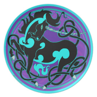 2014 Mink Chef: Unicorn Plate - Turquoise/Black