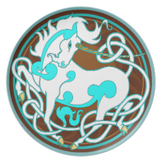 2014 Mink Chef: Unicorn Plate - White/Turquoise