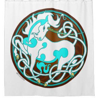 2014 Mink Nest Unicorn Shower Curtain - Blue/Brown