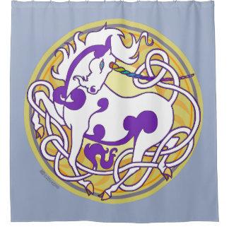 2014 Mink Nest Unicorn Shower Curtain - Dusty Blue
