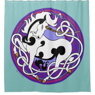 2014 Mink Nest Unicorn Shower Curtain - Dusty Teal
