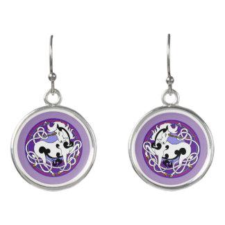 2014 Mink Style Unicorn Drop Earrings-Black/White Earrings