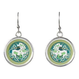 2014 Mink Style Unicorn Drop Earrings -Green/White