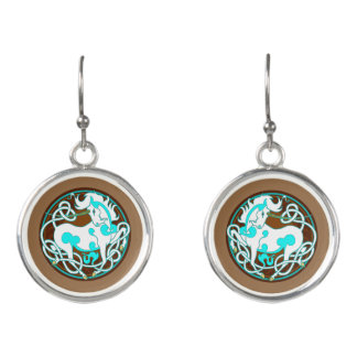 2014 Mink Style Unicorn Drop Earrings - White/Blue