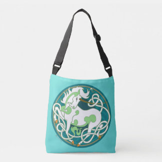 2014 Mink Totes: Unicorn CrossBody - Green/White Crossbody Bag