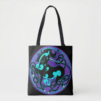 2014 Mink Totes: Unicorn Fancy Tote - Purple/Black