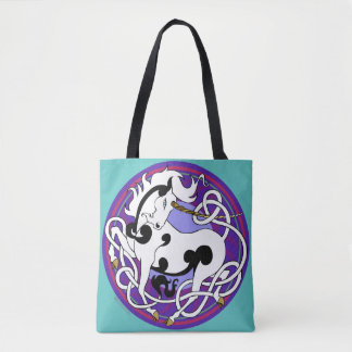 2014 Mink Totes: Unicorn Fancy Tote - White/Black