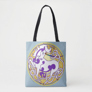 2014 Mink Totes: Unicorn Fancy Tote-White/Purple Tote Bag