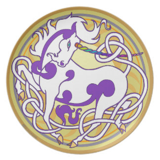 2014 MinkChef: Unicorn Plate - White/Purple/Yellow