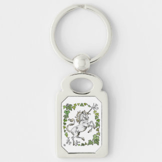 2014 MinkMode Collection: Unicorn Fancy Keychain - Silver-Colored Rectangle Key Ring