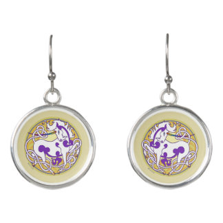 2014 MinkStyle Unicorn Drop Earrings-Purple/Yellow Earrings