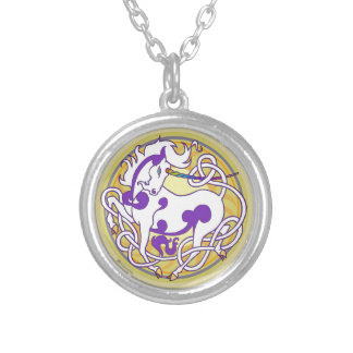 2014 MinkStyle Unicorn Necklace-Purple/Yellow Silver Plated Necklace