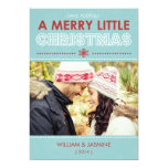 2014 Modern Blue Merry Little Christmas Flat Card Personalized Invitation