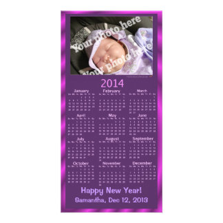 2014 New Year Calendar Card Purple Add Your Photo Picture Card