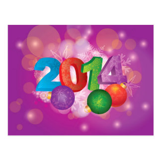 2014 New Year Numbers with Snowflakes Pattern Card Postcard