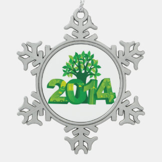 2014 New Year Numerals Go Green Symbols with Tree Pewter Snowflake Decoration