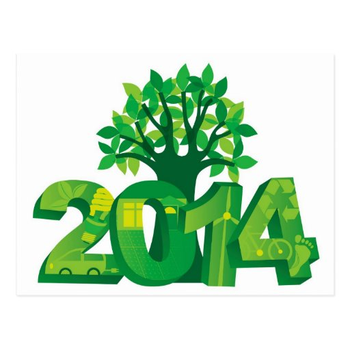2014 New Year Numerals Go Green Symbols with Tree Post Card