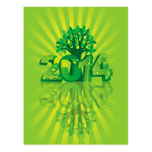 2014 New Year Numerals Go Green Symbols with Tree Postcard