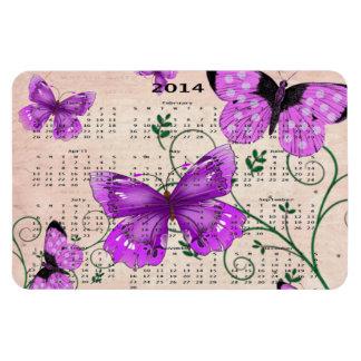 2014 Pastel Purple Butterflies Calendar Magnet