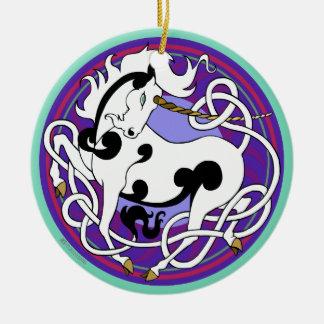 2014 Unicorn Ceramic Ornament - White/Black/Purple