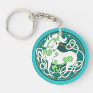 2014 Unicorn Two-Sided Keychain - Green/White
