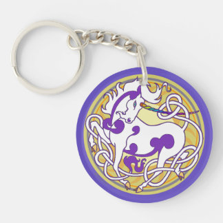 2014 Unicorn Two-Sided Keychain - Purple/Yellow