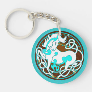 2014 Unicorn Two-Sided Keychain - White/Turquoise