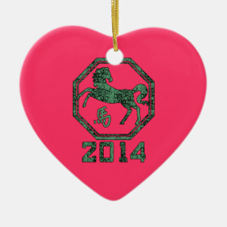 2014 Year of the Horse in Chinese Astrology Ceramic Heart Decoration