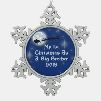 2015 1st Christmas As A Big Brother Pewter Snowflake Decoration
