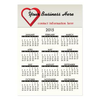 2015 Business Card Calendar Heart Health