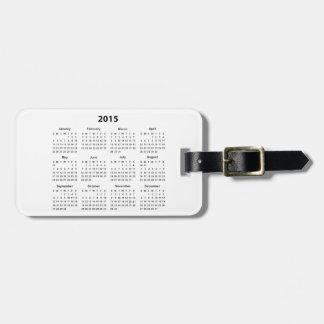 2015 Calendar Tag For Bags