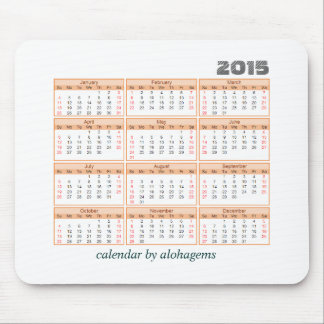 2015 Calendar Mouse pad Simple Orange Tangerine