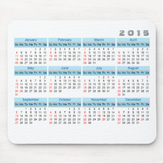 2015 Calendar Mouse pad Simple Sky blue and white