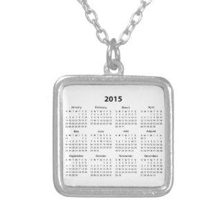 2015 Calendar Square Pendant Necklace