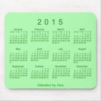 2015 Lime Green Calendar by Janz Mousepad