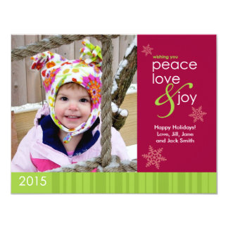 2015 Peace, Love and Joy Holiday Photo Postcard 11 Cm X 14 Cm Invitation Card