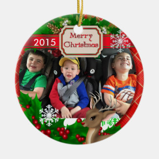 2015 Picture Ornament Reindeer & Snowflakes