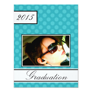 "2015 Screen Dot Teal Open House Party Graduation 4.25"" X 5.5"" Invitation Card"