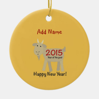 2015 Year Of the Goat - Happy New Year Round Ceramic Decoration