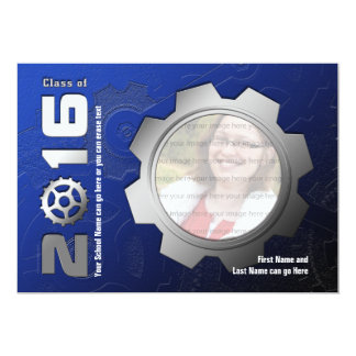 2016 Blue and Silver Gear Graduation Invitation