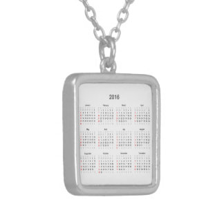 2016 Calendar Gifts Silver Plated Necklace