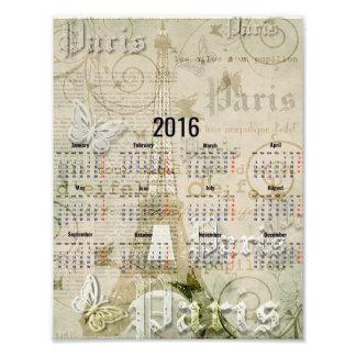 2016 Eiffel Tower, Paris Art Calendar Poster Photographic Print
