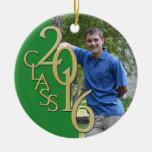 2016 Grad Photo Green and Gold Round Ceramic Decoration