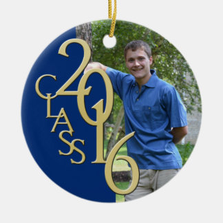 2016 Graduate Photo Blue and Gold Round Ceramic Decoration