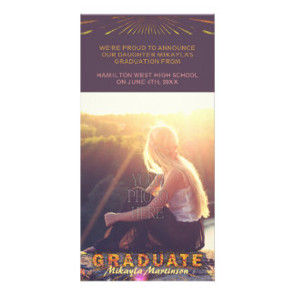 2016 Graduation Boho Chic Purple Sunshine Colors Personalised Photo Card