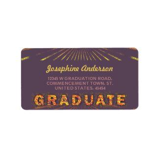 2016 Graduation Boho Chic Sunny Purple Address Label