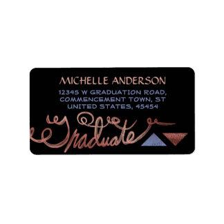 2016 Graduation Faux Rose Gold Foil Typography Address Label