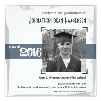 2016 Graduation Rustic Gray Blue Party Invitation