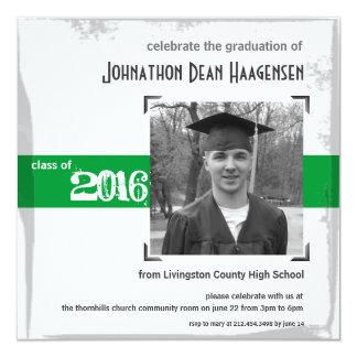 2016 Graduation Rustic Green Party Invitation